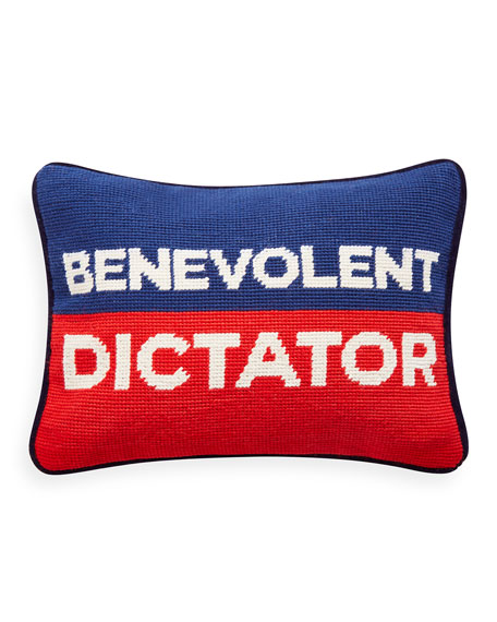 Jonathan Adler Benevolent Dictator Needlepoint Personality Pillow