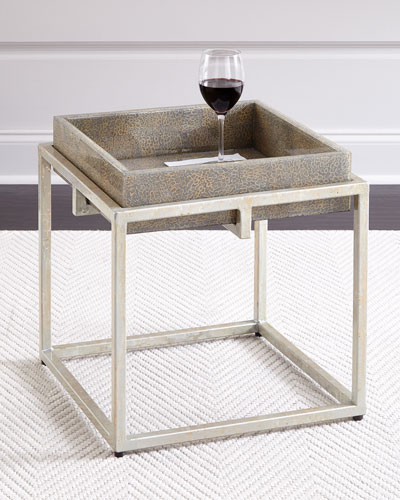 Alegra Side Table with Removable Tray, Gray