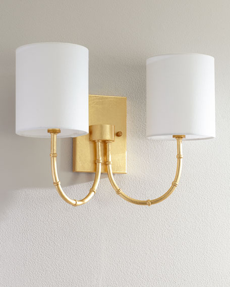 Two Arm Bamboo Sconce with Linen Shade