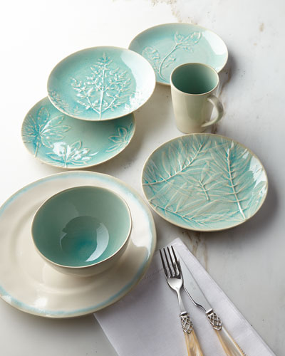 12-Piece Leaf Dinnerware Service, Aqua
