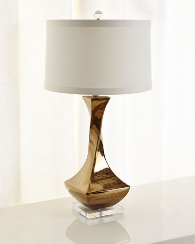 Bronze Twist Lamp in Ceramic with Acrylic Accents