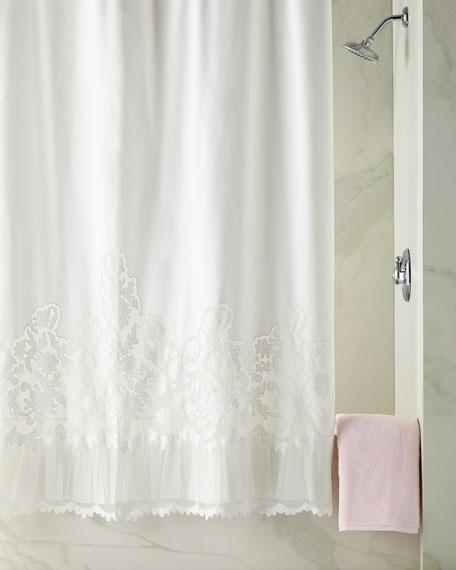 Caprice Shower Curtain, White
