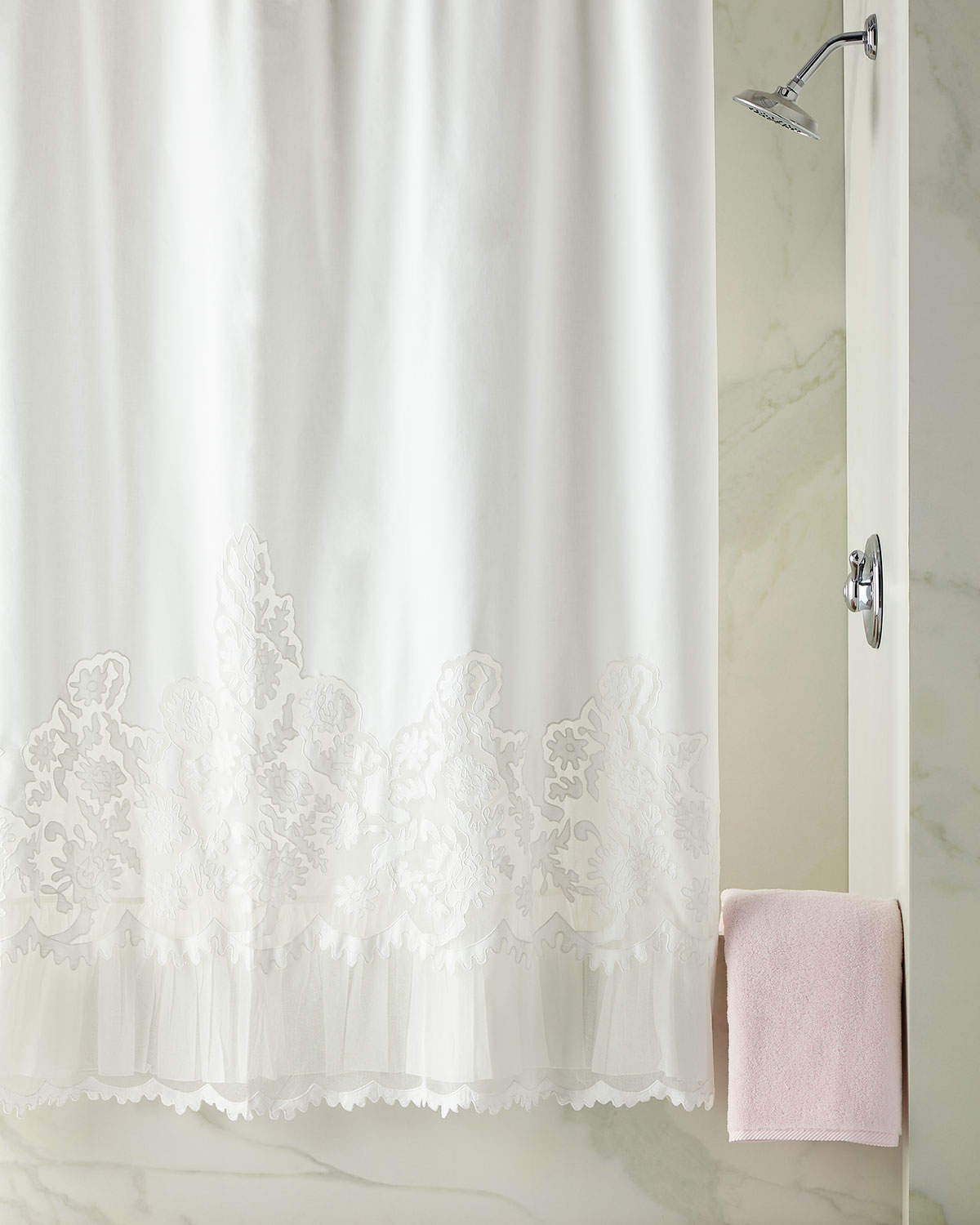Caprice Shower Curtain White
