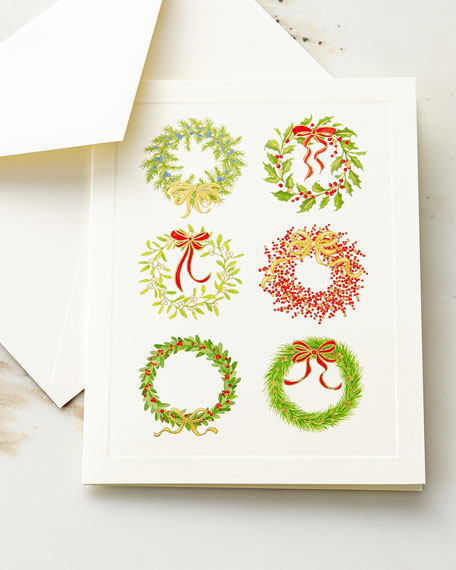 Wreaths Embossed Cards with Envelopes
