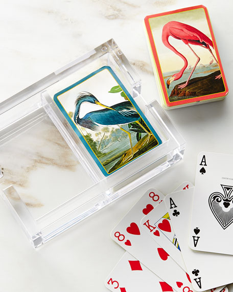 Caspari Audubon Playing Cards & Acrylic Holder Set