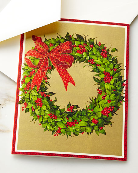 Wreath on Gold Printed Cards, Set of 16