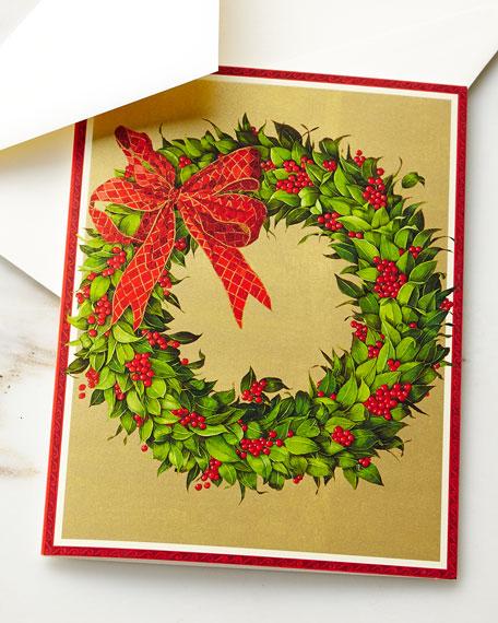 Caspari Wreath on Gold Printed Cards, Set of
