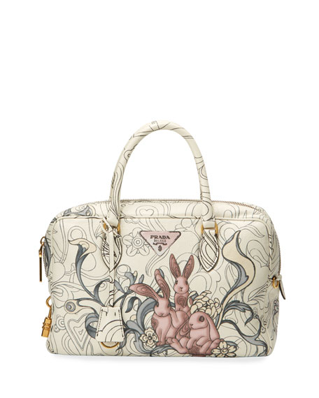 Prada Glace Rabbit-Print Calf Duffel Bag