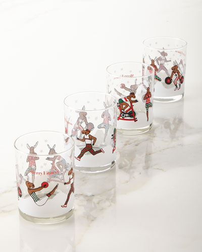 Merry Fitness Moose Glass Double Old-Fashioned Glasses, Set of 4