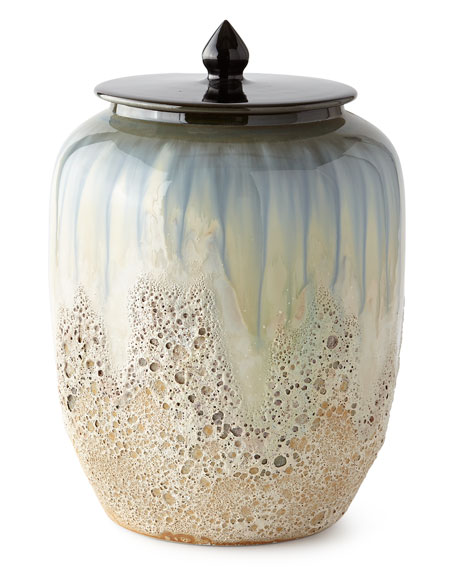White and Smalt Blue Lidded Jar III