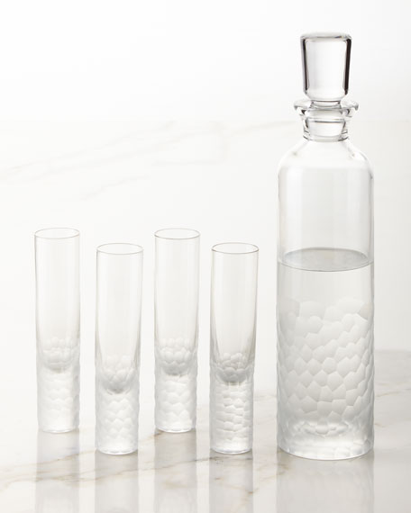 Artic Vodka Decanter and Four Shot Glasses