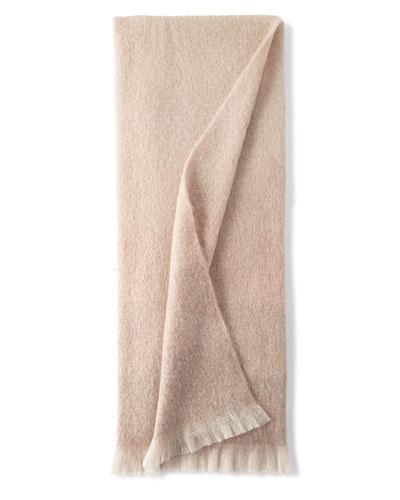 Dip Dyed Mohair Throw Blanket, Blush