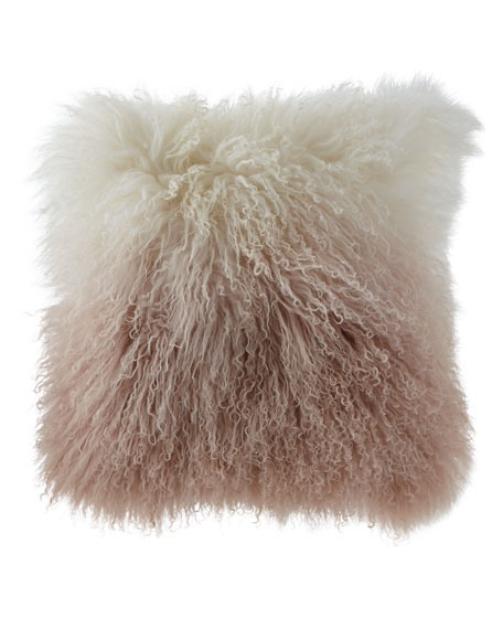 Michael Aram Dip Dye Curly Sheepskin Pillow, 18