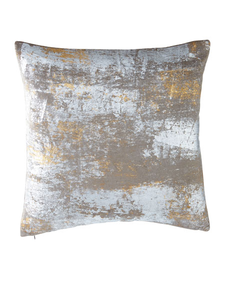 "Distressed Metallic Velvet Pillow, 20"" Square"