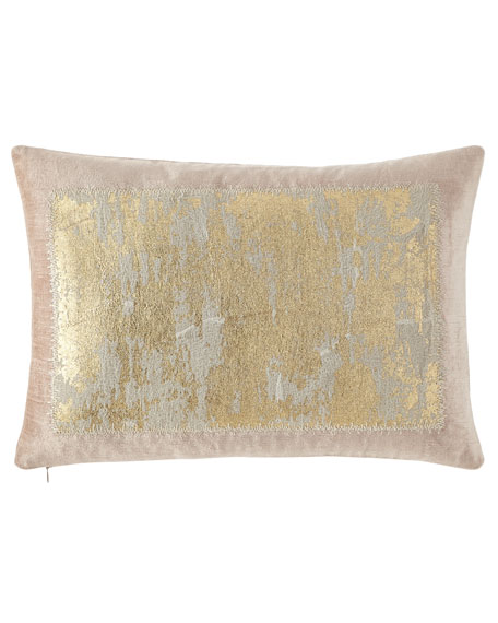 "Distressed Metallic Lace Pillow, 14"" x 20"""