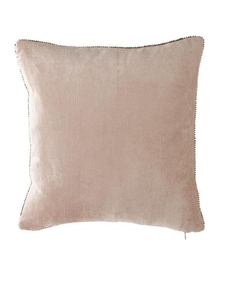 """Beaded-Edge Velvet Pillow in Blush, 18"""" Square"""