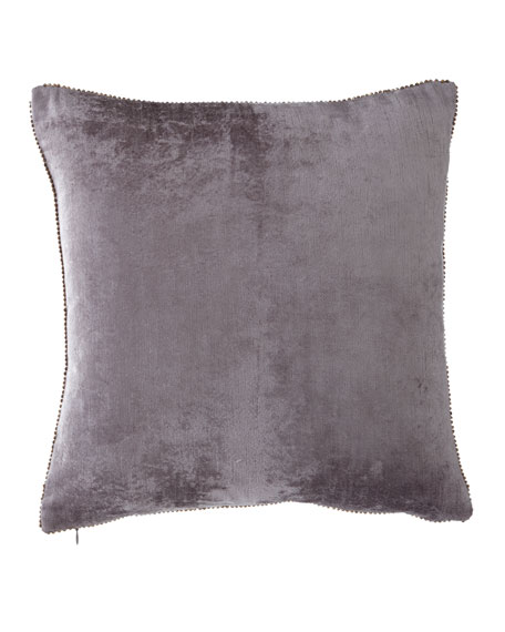 "Beaded-Edge Velvet Pillow in Gray, 18"" Square"