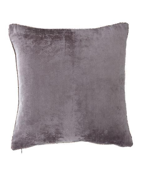 Michael Aram Beaded-Edge Velvet Pillow in Gray, 18