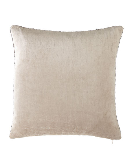 Michael Aram Beaded-Edge Velvet Pillow in Ivory, 18