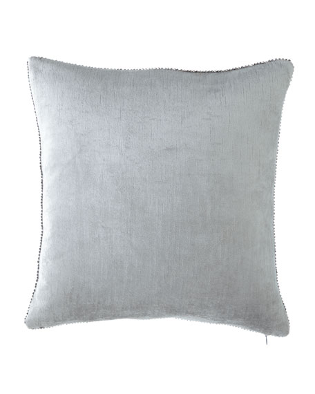 "Beaded-Edge Velvet Pillow in Light Blue, 18"" Square"