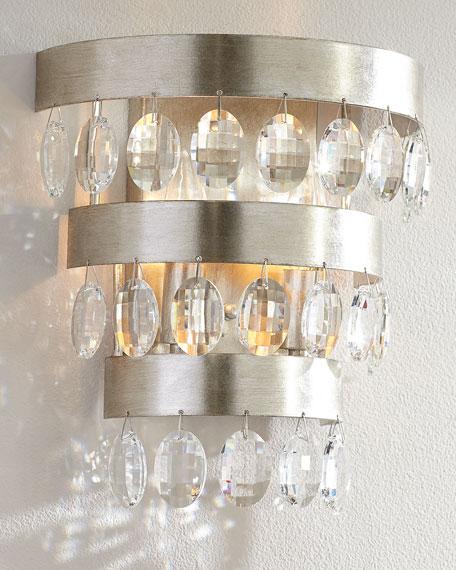 Perla 2-Light Antiqued Silver Sconce