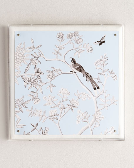 """""""Blue Chinoiserie IV"""" Lucite Wall Art"""