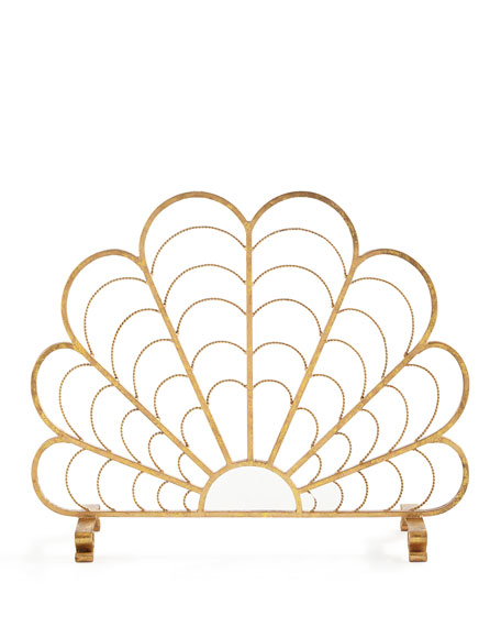 Italian Gold Iron Shell Decorative Fireplace Screen