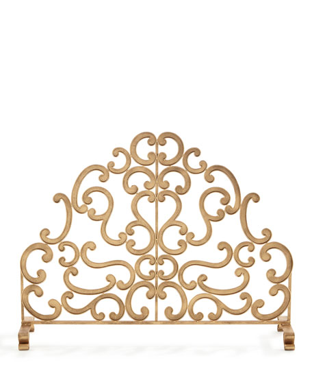 Antiqued Gold Iron and Told Double Scroll Single-Panel Fireplace Screen