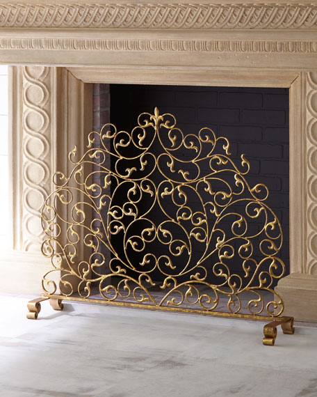 Italian Gold Double-Scroll Single-Panel Decorative Fireplace Screen