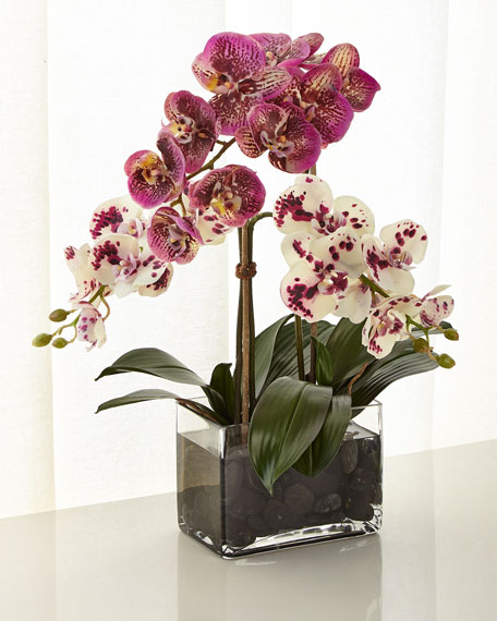 NDI White and Purple Orchid Faux-Floral Arrangement