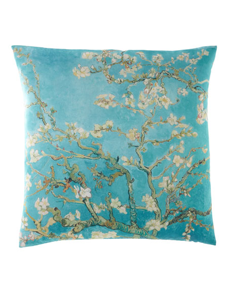 Turquoise Almond Blossom Pillow