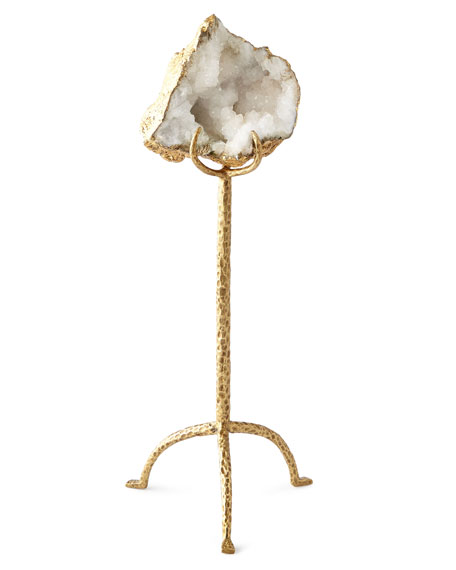White Quartz Geode on Brass Stand, Short