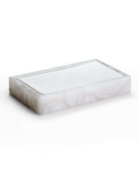 Alisa Alabaster Towel Tray, White