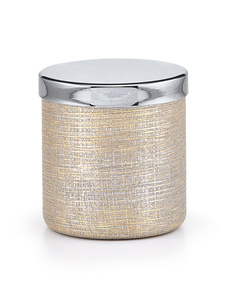 Woven Metallic Canister with Chrome Polished Lid