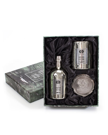 Candle/Tray Gift Set - Silver Cedar, 8.4 oz./ 250 mL
