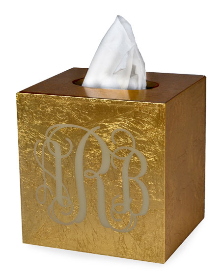 Eos Monogram Boutique Tissue Box, Gold