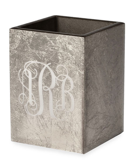 Eos Monogram Wood Brush Holder, Silver