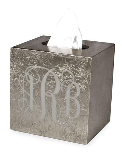 Eos Monogram Boutique Tissue Box, Silver