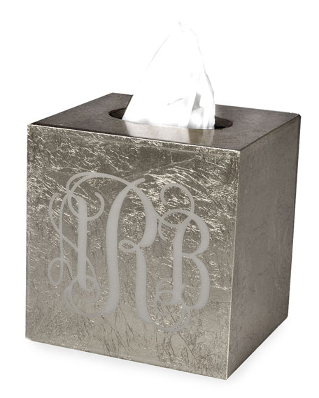 Eos Monogram Boutique Tissue Box, Silver