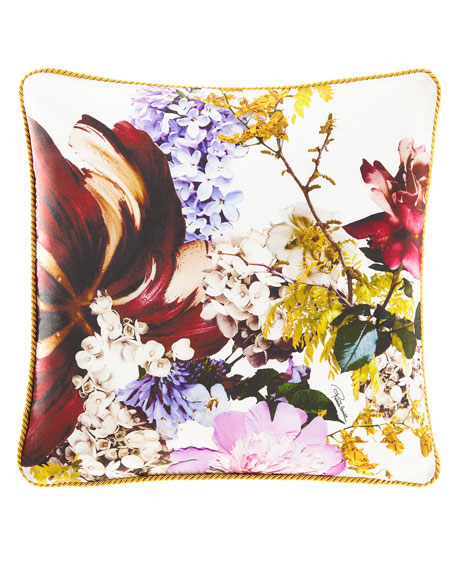 "Floris Silk Pillow, 16""Sq."