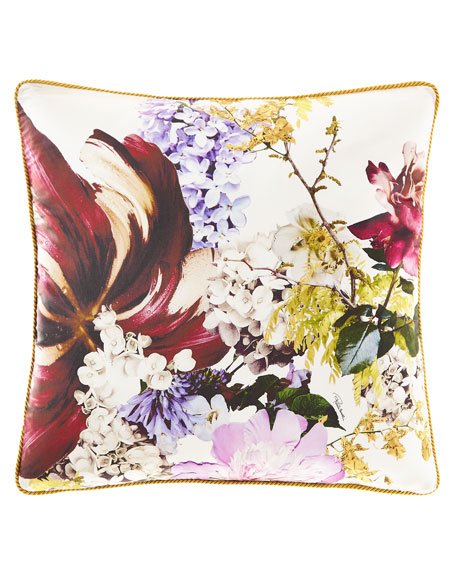 "Floris Silk Pillow, 23""Sq."