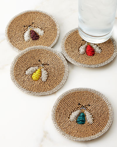 Sparkle Bee Coasters, Set of 4