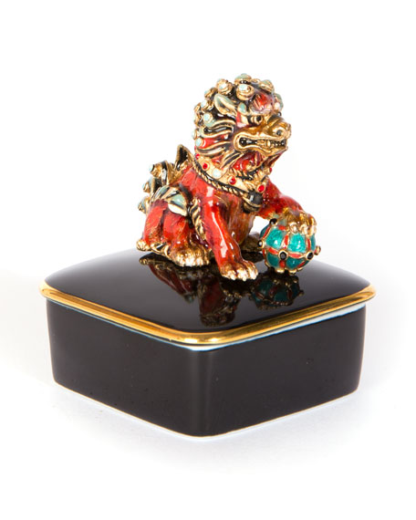 Jay Strongwater Foo Dog Box
