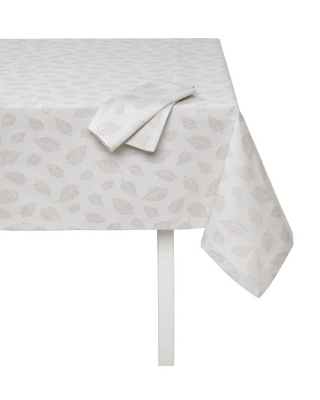 """Ivy Tablecloth with Metallic Leaves, 66"""" x 90"""""""