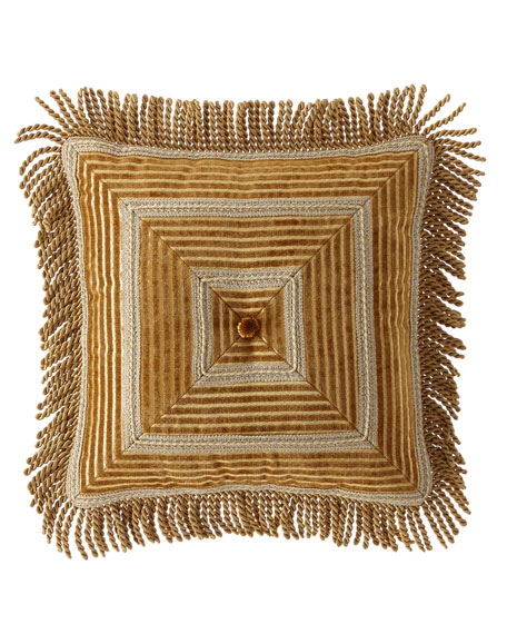 Loana Stripe Boutique Pillow with Bullion Fringe