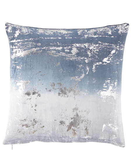 Metallic Printed Velvet Ombre Decorative Pillow
