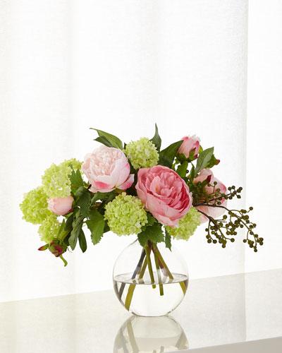 Peony Snowball Faux Floral Arrangement