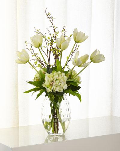 Tulip Hydrangea Faux Floral Arrangement