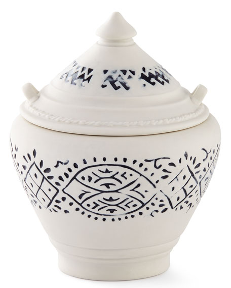 Lakki Covered Porcelain Vanity Jar, Blue