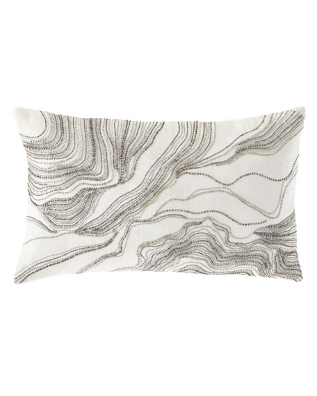 Silver Beaded Decorative Pillow